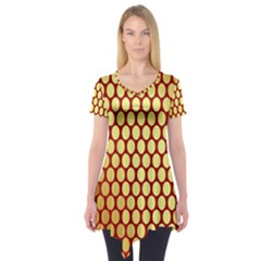 Red And Gold Effect Backing Paper Short Sleeve Tunic