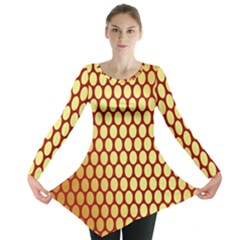 Red And Gold Effect Backing Paper Long Sleeve Tunic
