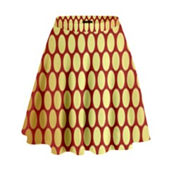 Red And Gold Effect Backing Paper High Waist Skirt