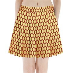 Red And Gold Effect Backing Paper Pleated Mini Skirt