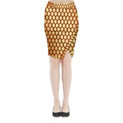 Red And Gold Effect Backing Paper Midi Wrap Pencil Skirt