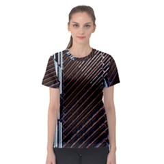 Red And Black High Rise Building Women s Sport Mesh Tee