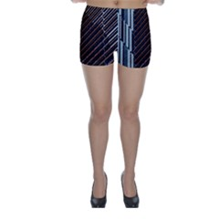 Red And Black High Rise Building Skinny Shorts