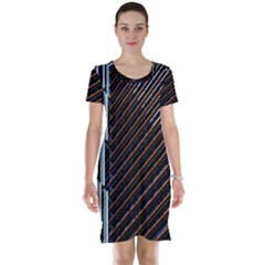 Red And Black High Rise Building Short Sleeve Nightdress