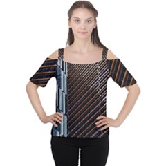 Red And Black High Rise Building Women s Cutout Shoulder Tee