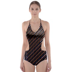 Red And Black High Rise Building Cut-Out One Piece Swimsuit