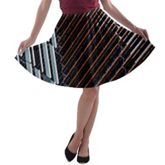 Red And Black High Rise Building A-line Skater Skirt