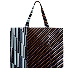 Red And Black High Rise Building Zipper Large Tote Bag