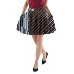Red And Black High Rise Building A-Line Pocket Skirt