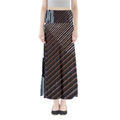 Red And Black High Rise Building Maxi Skirts