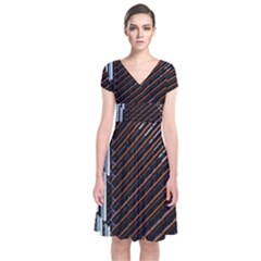 Red And Black High Rise Building Short Sleeve Front Wrap Dress