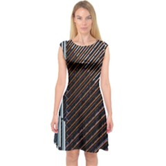 Red And Black High Rise Building Capsleeve Midi Dress
