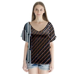 Red And Black High Rise Building Flutter Sleeve Top