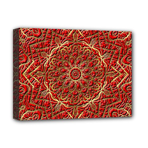 Red Tile Background Image Pattern Deluxe Canvas 16  X 12