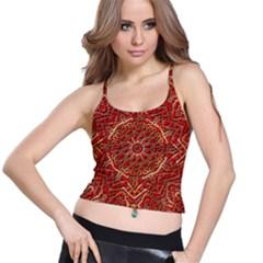 Red Tile Background Image Pattern Spaghetti Strap Bra Top