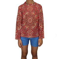 Red Tile Background Image Pattern Kids  Long Sleeve Swimwear