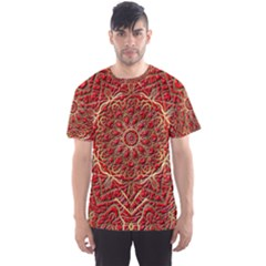 Red Tile Background Image Pattern Men s Sport Mesh Tee