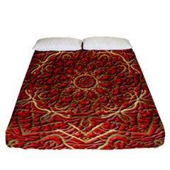 Red Tile Background Image Pattern Fitted Sheet (queen Size)