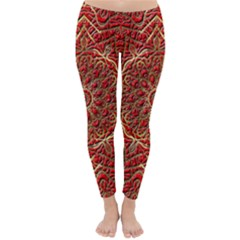 Red Tile Background Image Pattern Classic Winter Leggings