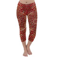 Red Tile Background Image Pattern Capri Winter Leggings