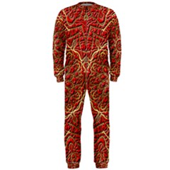 Red Tile Background Image Pattern OnePiece Jumpsuit (Men)