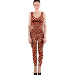 Red Tile Background Image Pattern Onepiece Catsuit