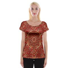 Red Tile Background Image Pattern Women s Cap Sleeve Top