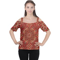Red Tile Background Image Pattern Women s Cutout Shoulder Tee