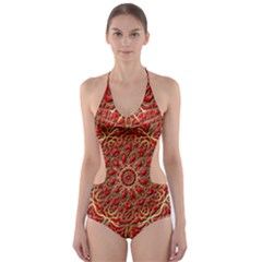 Red Tile Background Image Pattern Cut-Out One Piece Swimsuit