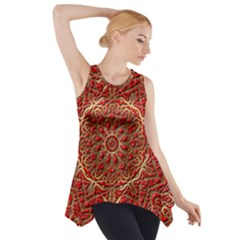 Red Tile Background Image Pattern Side Drop Tank Tunic