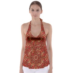 Red Tile Background Image Pattern Babydoll Tankini Top