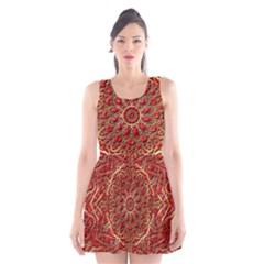 Red Tile Background Image Pattern Scoop Neck Skater Dress