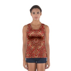 Red Tile Background Image Pattern Women s Sport Tank Top
