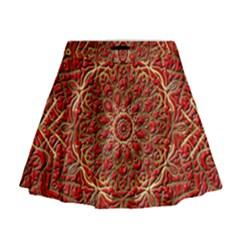 Red Tile Background Image Pattern Mini Flare Skirt