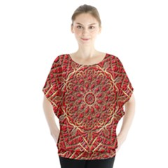 Red Tile Background Image Pattern Blouse