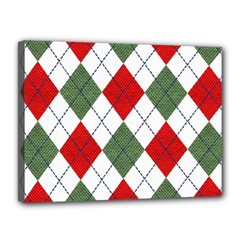Red Green White Argyle Navy Canvas 16  x 12