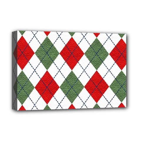 Red Green White Argyle Navy Deluxe Canvas 18  X 12