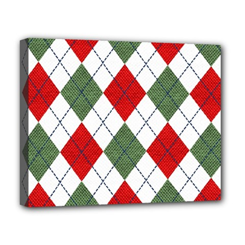 Red Green White Argyle Navy Deluxe Canvas 20  x 16
