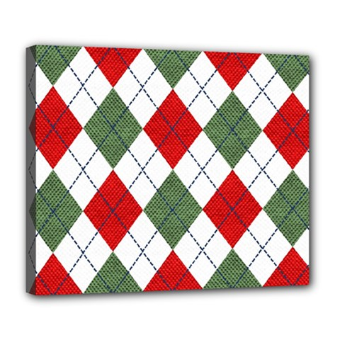 Red Green White Argyle Navy Deluxe Canvas 24  x 20