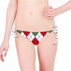 Red Green White Argyle Navy Bikini Bottom