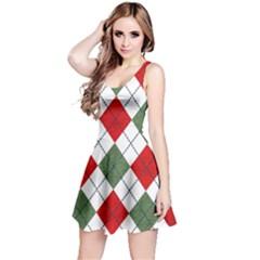 Red Green White Argyle Navy Reversible Sleeveless Dress