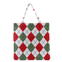 Red Green White Argyle Navy Grocery Tote Bag