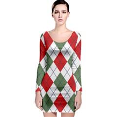 Red Green White Argyle Navy Long Sleeve Bodycon Dress
