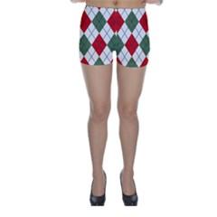 Red Green White Argyle Navy Skinny Shorts