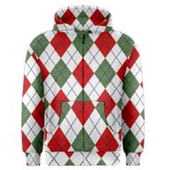Red Green White Argyle Navy Men s Zipper Hoodie