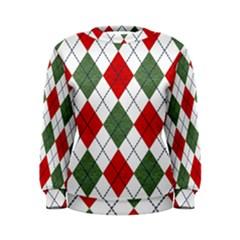 Red Green White Argyle Navy Women s Sweatshirt
