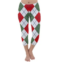 Red Green White Argyle Navy Capri Winter Leggings