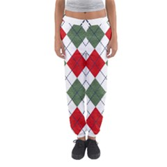 Red Green White Argyle Navy Women s Jogger Sweatpants