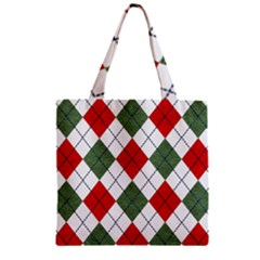 Red Green White Argyle Navy Zipper Grocery Tote Bag