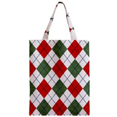 Red Green White Argyle Navy Zipper Classic Tote Bag